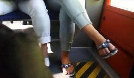 Teen Feet At The Train