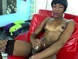 Cute ebony tranny tugs off her hard cock